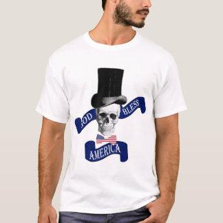 Funny Gothic God Bless America Skull tattoo T-Shirt