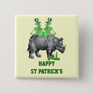 Funny gothic skeletons Irish  St Patrick's day 2 Inch Square Button