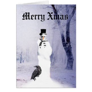 Funny Gothic Snowman Christmas Card