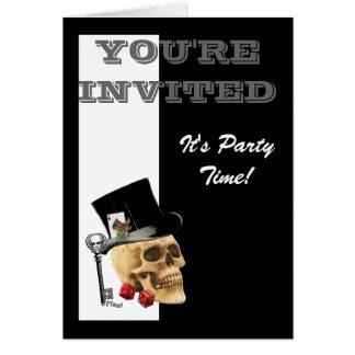 Funny Gothic Steampunk gambling skull Greeting Card