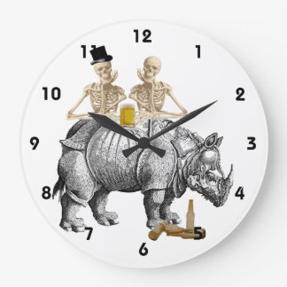 Funny gothic steampunk skeltons and rhino large clock