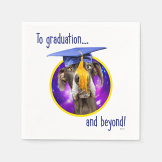 Funny Graduation Dog Wearing Hat Paper Napkin