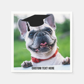 Funny Graduation French Bulldog Photo Custom Paper Napkins