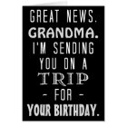 Funny Grandma Birthday Trip Retro Hippie Humour Card