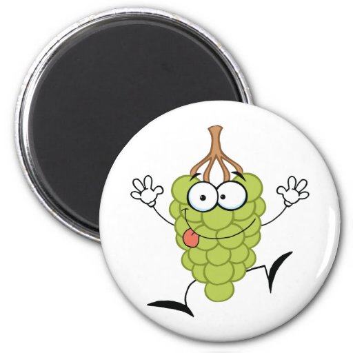 Funny Grapes Cartoon Character Refrigerator Magnet