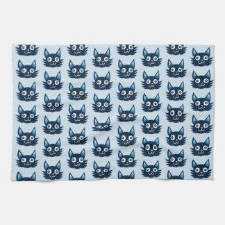 funny graphic cat head cartoon kitchen towel