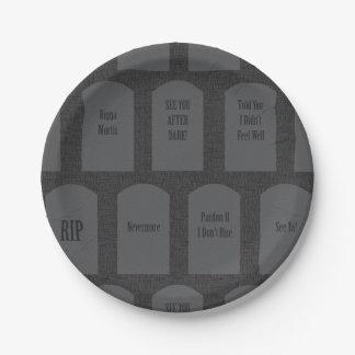 Funny Gravestones 7 Inch Paper Plate