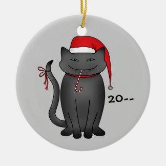 Funny gray Christmas kitty Ceramic Ornament