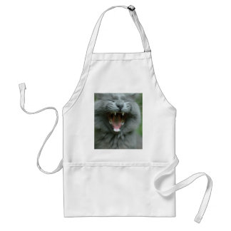 Funny Gray Long haired Cat Yawning big Aprons