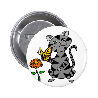 Funny Gray Tabby Cat Holding Butterfly 2 Inch Round Button
