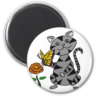 Funny Gray Tabby Cat Holding Butterfly 2 Inch Round Magnet