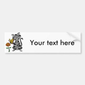 Funny Gray Tabby Cat Holding Butterfly Bumper Sticker