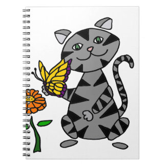 Funny Gray Tabby Cat Holding Butterfly Spiral Notebooks