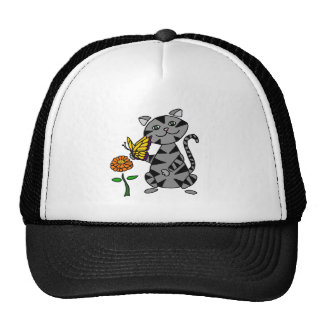 Funny Gray Tabby Cat Holding Butterfly Trucker Hat
