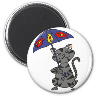 Funny Gray Tabby Cat Holding Umbrella 2 Inch Round Magnet