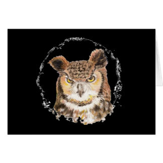 Funny Great Horned Owl Peeking at You Card