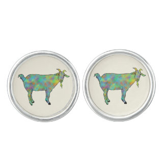 Funny Green Abstract Art Goat Animal Design Cuff Links