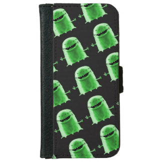 funny green alien cartoon style illustration iPhone 6 wallet case