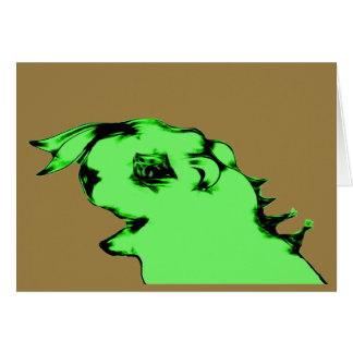 Funny Green Alien Creature Note Card