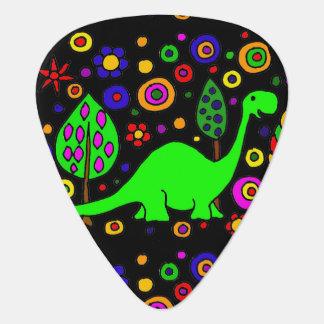 Funny Green Brontosaurus Dinosaur Abstract Art Guitar Pick