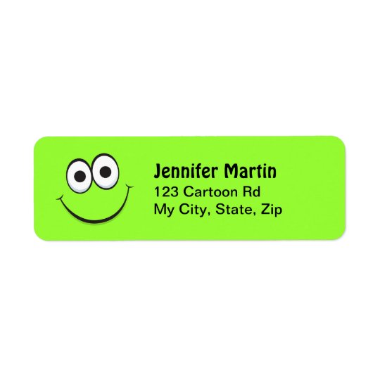 Funny green cartoon face return address labels