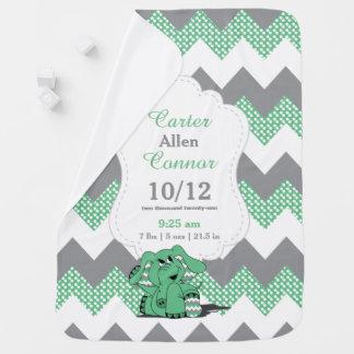 Funny Green Chevron Elephant Baby Blanket