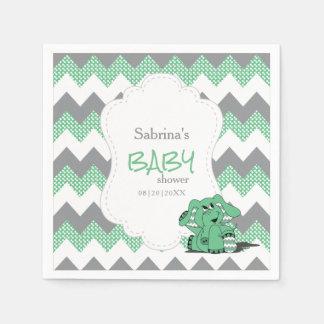 Funny Green Chevron Silly Cute Baby Elephant Napkin