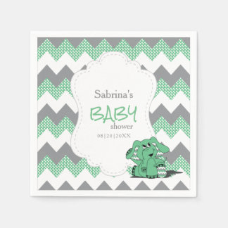 Funny Green Chevron Silly Cute Baby Elephant Paper Napkin