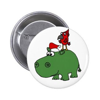Funny Green Christmas Hippo 2 Inch Round Button