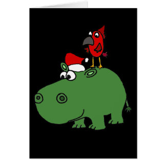 Funny Green Christmas Hippo Card