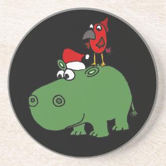 Funny Green Christmas Hippo Coaster