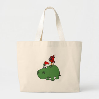 Funny Green Christmas Hippo Large Tote Bag