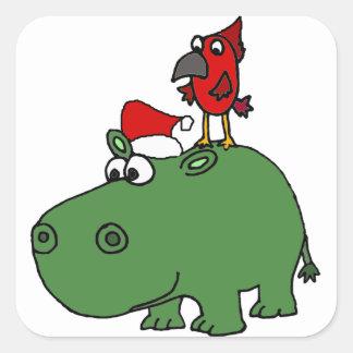 Funny Green Christmas Hippo Square Sticker