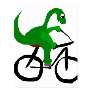 Funny Green Dinosaur Riding Bicycle Postcard