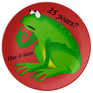 Funny Green Frog 25th Anniversary Decorative Plate