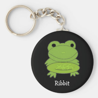 Funny Green Frog Basic Round Button Keychain