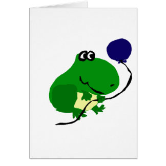 Funny Green Frog Holding Blue Birthday Balloon Card