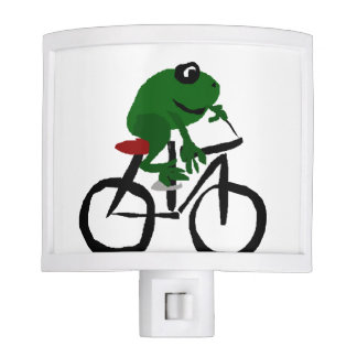 Funny Green Frog Riding a Bicycle Night Lights