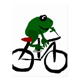 Funny Green Frog Riding Bicycle Postcard