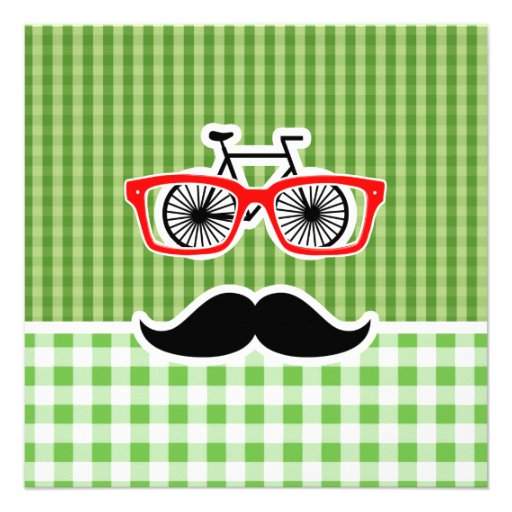 Funny Green Gingham Mustache Announcement