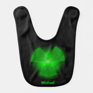 Funny green glowing radioactivity symbol baby bib