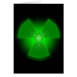Funny green glowing radioactivity symbol card