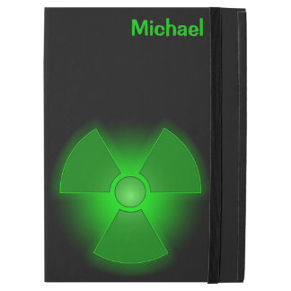"Funny green glowing radioactivity symbol iPad pro 12.9"" case"