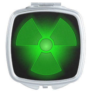 Funny green glowing radioactivity symbol makeup mirrors