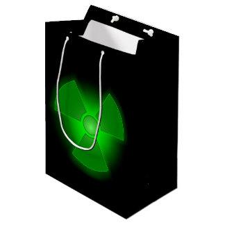 Funny green glowing radioactivity symbol medium gift bag