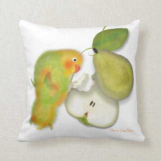 Funny green lovebird, parrot with pear. pillow