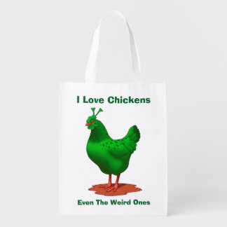 Funny Green Martian Alien Chicken Reusable Grocery Bag
