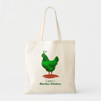 Funny Green Martian Alien Chicken Tote Bag