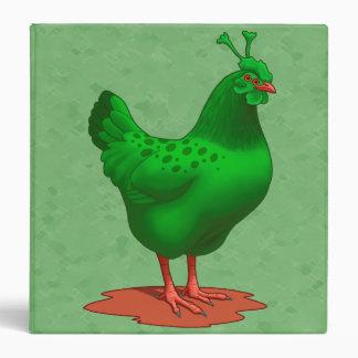 Funny Green Martian Alien Chicken Vinyl Binder