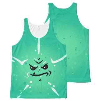 Funny Green Monster Face with Smirky Smile All-Over-Print Tank Top